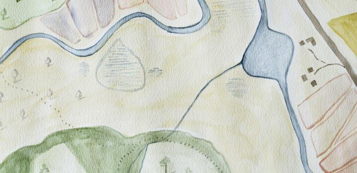 Något som liknar en äldre karta med symboler och fält för vägar, hus, vattendrag, fält och skogar. Illustration.